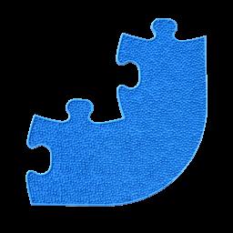 Orthopuzzle Umrandung Ecke - Grass mit harter Oberfläche in Blau
